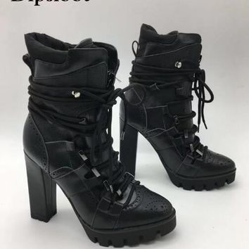 Black Rope Lace-up Leather Platform Ankle Boots High Heel Short Booties