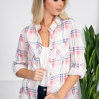 Bright Plaid Top | Pink