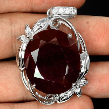 A Rare 59.77CT Oval Cut Red Ruby Pendant Necklace