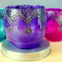 Gypsy Inspired, Henna Designed Purple Glass Votive Holder or Table Decor