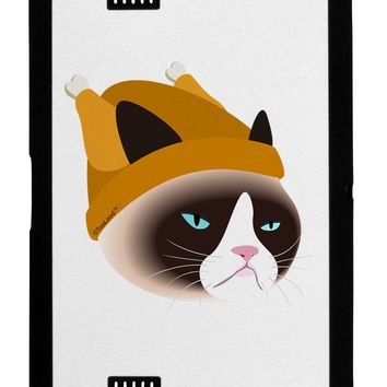 Disgruntled Cat Wearing Turkey Hat Black Jazz Kindle Fire HD Cover by TooLoud