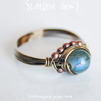 Labradorite Boho Ring, wire wrapped jewelry handmade, wire wrapped ring, boho jewelry, unique rings, rustic ring, cocktail ring