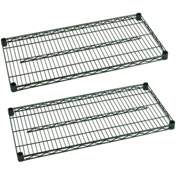 "Commercial Heavy Duty Walk-In Box Green Epoxy Wire Shelves 14"" x 24"" (Pack of 2)"