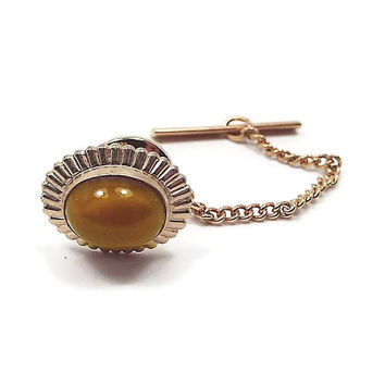 Vintage Tie Tack, Butterscotch Yellow, 1970s 70s, Glass Cab Gold Tone Oval, Mens Summer Jewelry, Hipster Jewelry
