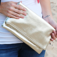 Fold Over Leather Clutch in Gold