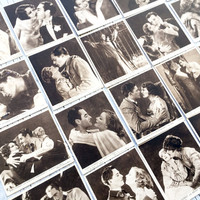Love Scenes from Famous Films, a part set: 19/25 film stars, circa 1932. Collectable cigarette cards from Kensitas.