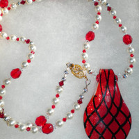 Passion Ruby Red and White Swarovski Pearl and Crystal Necklace