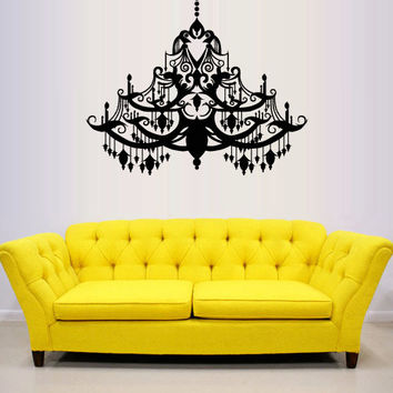 Wall Decal Vinyl Sticker Decals Art Decor Design Chandelier Luster Chanel Light Lantern Lamp Living room Bedroom Mural Fashion gift (m1327)