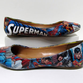 Superman Comic Book Flats  Made to Order by custombykylee on Etsy