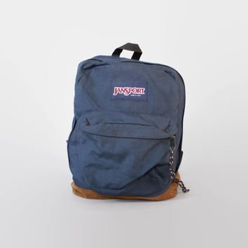 Vintage JANSPORT BACKPACK / BLUE Canvas & Leather Bottom School Bag Daypack