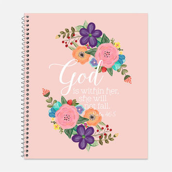 God Is Within Her Notebook, Waterproof Cover, Inspirational Notebook or Journal, Office Supplies, School Supplies, College Ruled, Psalm 46:5