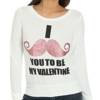 Mustache Valentine Sweater | Shop Tops at Wet Seal