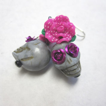Gray Sugar Skull Earrings Day Of The Dead Jewelry Grey Fuchsia Rose Flower