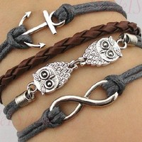 Vintage Anchor Leather Rope Owl Infinity Bracelet