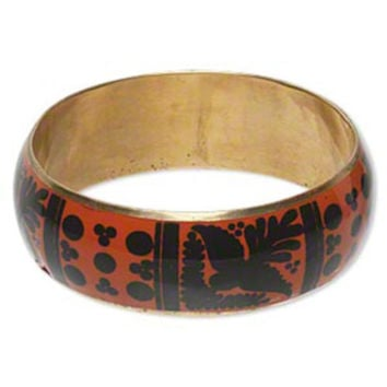 India Brass Bangle Bracelet with Black Orange Peace Dove Olive Branch Design