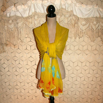Saffron Yellow Scarf Chiffon Scarf Print India Scarf Dupatta Sari Scarf Long Wide Belly Dance Scarf Bohemian Hip Scarf Women Accessories