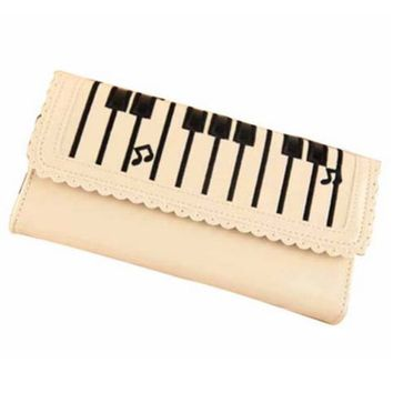 Piano Keyboard Musical Notes Shaped Bi Fold Clutch Long Wallet for Women in Cream