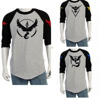 2016 Hot Pokemon Go Team Valor Team Mystic Team Instinct Pokeball O Neck Splice T-Shirt Red Blue Yellow Top