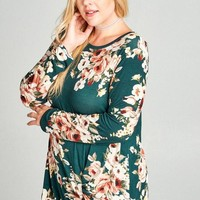 Forest Green Floral Knot Top | Plus