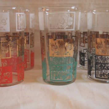 Barware Set of 6 Tumblers Gold and Colored , Vintage Drinking Glasses