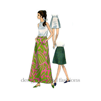 1960s Women's MOD A-Line SKIRTS 3 Lengths: Maxi Skirt Mini & Above Knee with Pockets Vogue 7217 UNCUT Vintage Sewing Patterns Waist 25 HIp34