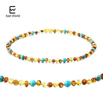 EAST WORLD Amber Bracelet/Necklace with Natural Turquoise Women Jewelry Unique Choker Handmade Design Jewelry Gift Female Collar