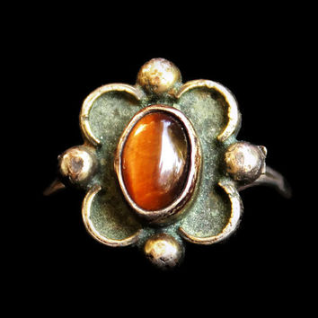 Vintage Tiger's Eye Sterling Silver Ring 1960's Boho Hippie Ring