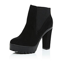 Black cleated sole ankle boots - chelsea boots - shoes / boots - women