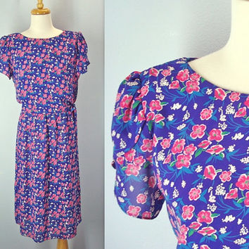 70s Flutter Dress Side Tie Silky Floral Tea Dress