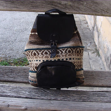 Unique leather backpack with handwoven wool fabric, black  leather backpack, school backpack, holiday backpack, handmade backpack