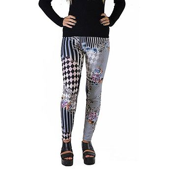 Mix media checkered Plus Size Leggings
