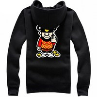 Cute Cartoon Gold Print Thick Soft Cotton Zipper Jacket Black - L