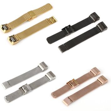 Durable Watchbands Elegant Milanese Loop Stainless Steel Metal Watch Band Strap Bracelet For Fitbit Charge 2