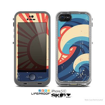 The Retro Vintage Blue Vector Waves V3 Skin for the Apple iPhone 5c LifeProof Case