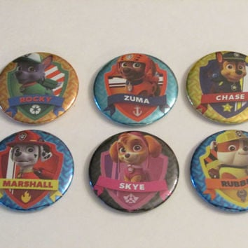 Paw Patol Magnet Set of 6 - Birthday Party Favors - Pinata Prizes - Paw Patrol Birthday - Rubble - Skye - Chase - Rocky - Zuma - Marshall