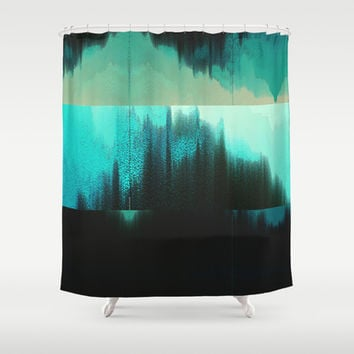 Aqua Block Shower Curtain by DuckyB (Brandi)