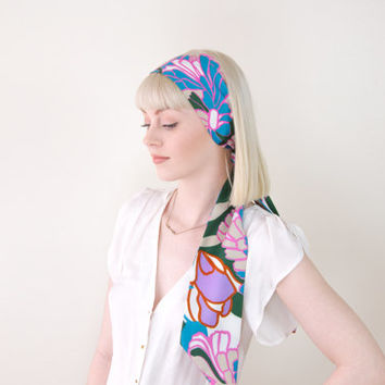 vintage satin hair scarf headband / silk hair scarf head wrap / 60s silk neck scarf / long silk scarf headband