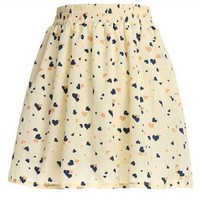 Am Clothes Womens Girls Sweet Floral Tall Waist Mini Skirt (HEARD-BEIGE)