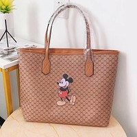 GUCCI x Disney Fashion Women Mickey Mouse Print Leather Handbag Tote Shoulder Bag Satchel