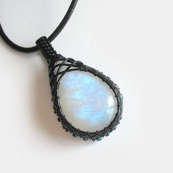 OOAK wire wrapped Moonstone necklace, rainbow Moonstone necklace, beaded wire wrap, black copper wrap, unique necklace for women