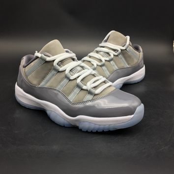 "[Free Shipping]Air Jordan 11 Low ""Cool Grey""528895-003  Basketball Sneaker"