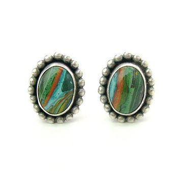 Southwestern Sterling Silver Earrings. Oval Striped Green Turquoise Blue Rust Brown Cabochon Stones. Chiseled. Vintage Western Jewelry