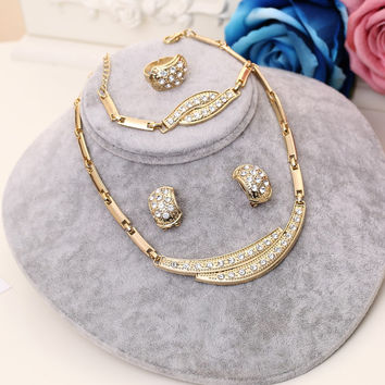 Crystal jewelry sets statement necklace earrings bracelet ring for women jewellery parure bijoux femme indian gold plated Hot