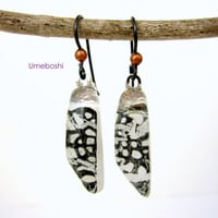 Snowy White Leopard Black and White Handmade Fused Glass Earrings - One-of-a-Kind