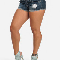 Mckensie Got Curves Denim Ripped Shorts