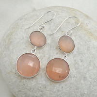 Pink Chalcedony 10mm And 15mm Gemstone Earring - Dangle Earrings - Bridesmaid Gift Bridal Earrings -  Bridal Jewelry - #9834