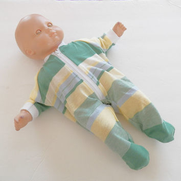 """Bitty Baby Doll Clothes Twin or Baby Doll 15"""" American Girl Mint Green Yellow Blue Stripe Cotton Knit Zip Up Feetie Pajamas Pjs Sleeper"""