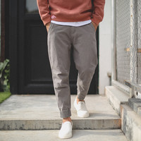 Men's Fashion Autumn Cropped Pants Rinsed Denim Weathered Jeans [7929369475]
