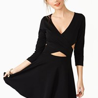 Crossed Out Skater Dress - Black