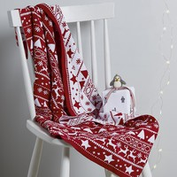 Fairisle Blanket - White/ Red